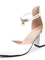 Недорогие -Жен. Обувь Полиуретан Весна лето С ремешком на лодыжке Обувь на каблуках На толстом каблуке Заостренный носок Белый / Черный / Бежевый