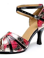 preiswerte -Damen Schuhe für den lateinamerikanischen Tanz PU Absätze Schlanke High Heel Tanzschuhe Schwarz