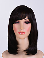 cheap -Synthetic Wig Straight Side Part Synthetic Hair 12 inch Women / With Bangs Black Wig Women's Mid Length Capless