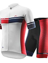 cheap -INBIKE Men's Short Sleeve Cycling Jersey with Shorts - White Bike Clothing Suit, Quick Dry, Anatomic Design, Breathable Spandex Stripe / Italy Imported Ink