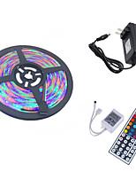 baratos -HKV 5m Faixas de Luzes LED Flexíveis / Conjuntos de Luzes 300 LEDs 3528 SMD 1 controlador remoto de 44 teclas / 1 x adaptador de energia 2A RGB Cortável / Conetável / Auto-Adesivo 100-240 V