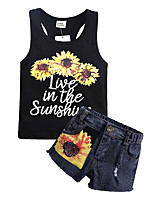 cheap -Kids / Toddler Girls' Sun Flower Polka Dot / Floral Sleeveless Clothing Set