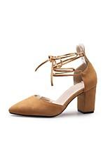 Недорогие -Жен. Обувь Замша Лето Удобная обувь / Туфли лодочки Обувь на каблуках На толстом каблуке Желтый / Розовый / Миндальный
