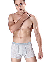 cheap -Men's Boxers Underwear Solid Colored / Striped / Color Block Mid Waist