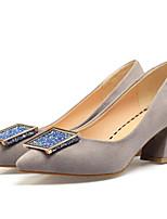 Недорогие -Жен. Комфортная обувь Полиуретан Весна Обувь на каблуках На толстом каблуке Черный / Красный / Миндальный
