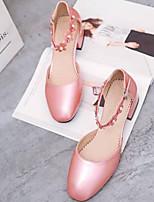 Недорогие -Жен. Обувь Полиуретан Лето Удобная обувь Обувь на каблуках На толстом каблуке Черный / Серебряный / Розовый