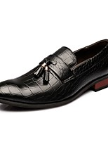 cheap -Men's Dress Shoes Faux Leather Spring / Fall British Loafers & Slip-Ons Black / Wine / Tassel / Party & Evening