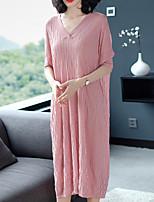 Недорогие -Жен. Классический / Элегантный стиль Оболочка Платье - Однотонный Средней длины
