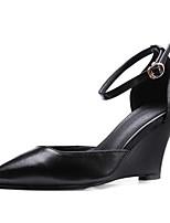 abordables -Femme Cuir Nappa Eté Escarpin Basique Chaussures à Talons Hauteur de semelle compensée Blanc / Noir / Rose