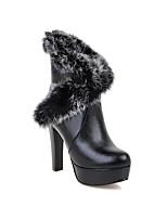 Недорогие -Жен. Полиуретан Наступила зима Английский Ботинки На толстом каблуке Белый / Черный