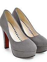 Недорогие -Жен. Обувь Замша Весна Удобная обувь Обувь на каблуках На шпильке Черный / Серый / Красный