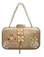 cheap -Women's Bags Synthetic Evening Bag Crystals / Flower Gold