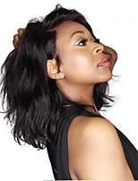 Недорогие -Не подвергавшиеся окрашиванию Лента спереди Парик Индийские волосы Естественные волны Парик Стрижка боб / Короткий Боб 130% Боб с прямым пробором / Природные волосы Черный Жен. Короткие
