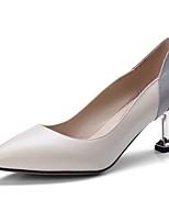 Недорогие -Жен. Наппа Leather Весна Туфли лодочки Обувь на каблуках На низком каблуке Черный / Бежевый