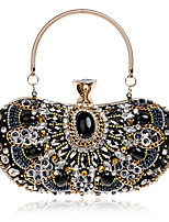 cheap -Women's Crystals Polyester / Alloy Evening Bag Floral Print Black