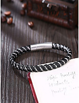 cheap -Men's Vintage Style / Braided Vintage Bracelet / Leather Bracelet - Leather, Stainless Creative Vintage, Punk Bracelet Black For Daily / Street