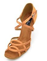 economico -Per donna Scarpe per balli latini Raso Sandali / Tacchi Tacco a rocchetto Personalizzabile Scarpe da ballo Nero / Marrone
