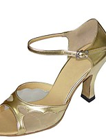 cheap -Women's Latin Shoes Satin Sandal / Heel Flared Heel Customizable Dance Shoes Silver / White / Clear
