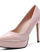 baratos -Mulheres Sapatos Confortáveis Camurça Verão Saltos Salto Agulha Preto / Rosa claro