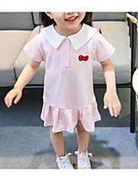 Недорогие -малыш Девочки Однотонный / Контрастных цветов С короткими рукавами Платье