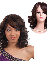 cheap -Synthetic Wig Wavy Side Part Synthetic Hair 14 inch Women / African American Wig / With Bangs Brown Wig Women's Mid Length Capless Black / Brown