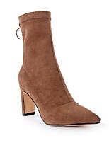 Недорогие -Жен. Fashion Boots Замша Осень Ботинки На толстом каблуке Сапоги до середины икры Черный / Коричневый