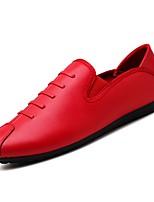 abordables -Hombre PU Otoño Mocasín Zapatos de taco bajo y Slip-On Negro / Rojo