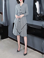 cheap -SHE IN SUN Women's Elegant Sheath Dress - Geometric / Houndstooth Black & White