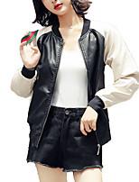 Недорогие -Жен. Кожаные куртки Воротник Питер Пен Однотонный, Хлопок