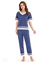 cheap -Women's Deep V Suits Pajamas Patchwork
