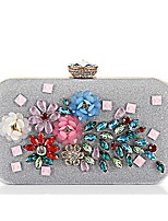 cheap -Women's Bags Polyester / Alloy Evening Bag Appliques / Pearls Floral Print Silver