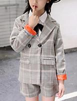 Недорогие -Дети Девочки В клетку Длинный рукав Набор одежды