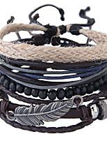 Недорогие -Муж. Плетение Wrap Браслеты Кожаные браслеты - Кожа Перо Винтаж, европейский, Мода Браслеты Бижутерия Коричневый Назначение Повседневные