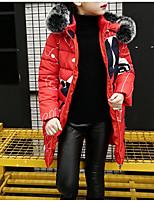 Недорогие -Дети Девочки Классический / Уличный стиль Спорт Цветочный принт С принтом Длинный рукав Длинная Хлопок На пуховой / хлопковой подкладке