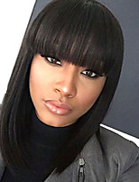 cheap -Synthetic Wig Straight Bob Haircut Synthetic Hair 12 inch Women / African American Wig / With Bangs Black Wig Women's Mid Length Capless Natural Black