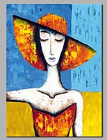 cheap -Oil Painting Hand Painted - Abstract / People Modern Canvas