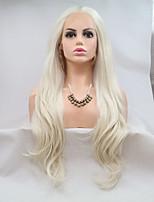 Недорогие -Синтетические кружевные передние парики Кудрявый Стрижка каскад 130% Человека Плотность волос Искусственные волосы 26 дюймовый Женский / Молодежный Белый Парик Жен. Средняя длина Лента спереди / Да