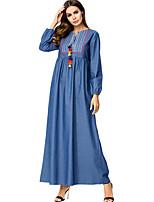 cheap -Women's Slim Abaya Dress High Waist Maxi / Fall