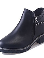 Недорогие -Жен. Fashion Boots Полиуретан Осень На каждый день Ботинки На толстом каблуке Круглый носок Ботинки Черный / Серый