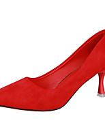 """Недорогие -Жен. Полиуретан Лето Туфли лодочки Обувь на каблуках Каблук """"Клеш"""" Заостренный носок Черный / Красный"""
