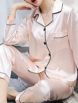Недорогие -Жен. Квадратный вырез Костюм Пижамы Однотонный