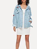 Недорогие -Жен. Джинсовая куртка Классический - Цветочные / ботанический Вышивка