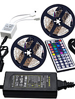 cheap -HKV 2x5M Light Sets / RGB Strip Lights 600 LEDs 3528 SMD 1 44Keys Remote Controller / 1 X 5A power adapter RGB Cuttable / Linkable / Self-adhesive 100-240 V