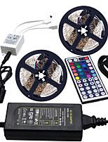 Недорогие -HKV 2x5M Наборы ламп / RGB ленты 600 светодиоды 3528 SMD 1 пульт дистанционного управления 44Keys / 1 адаптер питания X 5A RGB Можно резать / Компонуемый / Самоклеющиеся 100-240 V