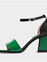 Недорогие -Жен. Комфортная обувь Наппа Leather Лето Обувь на каблуках На толстом каблуке Черный / Красный / Зеленый