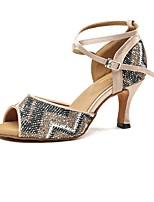 preiswerte -Damen Schuhe für den lateinamerikanischen Tanz Satin Absätze Keilabsatz Tanzschuhe Hautfarben