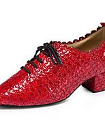 Недорогие -Жен. Обувь для модерна Кожа Оксфорды / На каблуках Толстая каблук Танцевальная обувь Красный / Синий