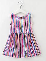 economico -Bambino / Bambino (1-4 anni) Da ragazza A strisce / Arcobaleno Senza maniche Vestito