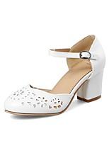 baratos -Mulheres Sapatos Confortáveis Couro Ecológico Primavera Verão Saltos Salto Robusto Branco / Azul / Rosa claro