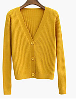 cheap -women's going out long sleeve cardigan - solid colored deep v